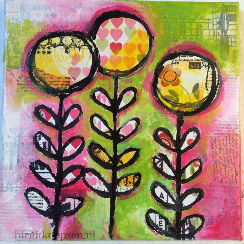Collage-paint bloom canvas - birgit koopsen